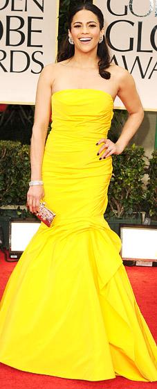 Badgley Mischka One-Shoulder Dress (Paula Patton)