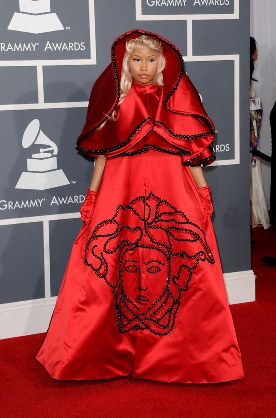Nicki Minaj's Red Hooded Dress