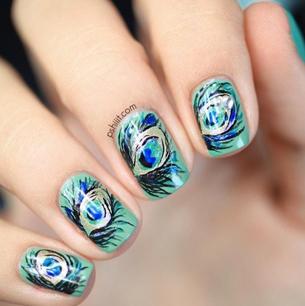 nail, finger, blue, green, hand,