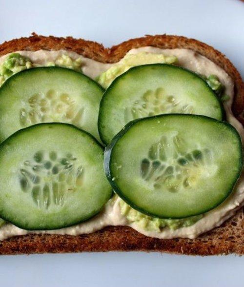 Avocado Toast with Cucumber & Hummus