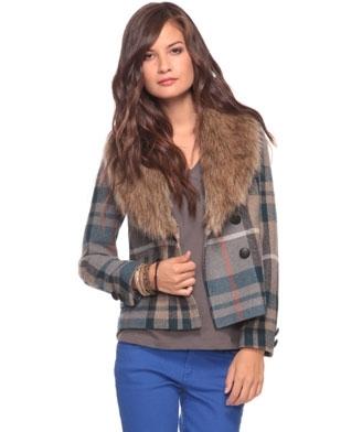 Plaid Jacket W/ Faux Fur Collar