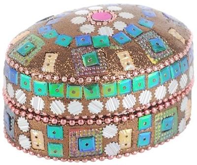 Glittered Oval Jewelry Box