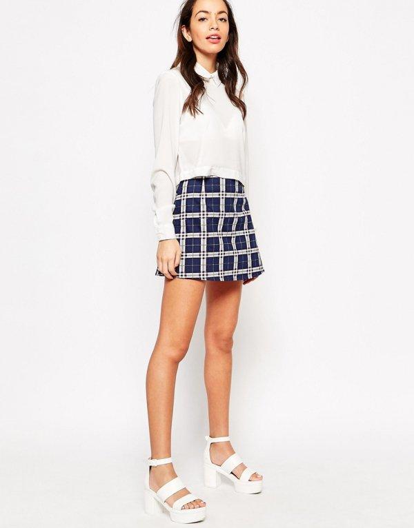Motel Annie Mini Skirt in Plaid