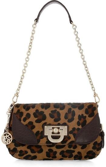 DKNY Leopard Print Calf Hair Shoulder Bag
