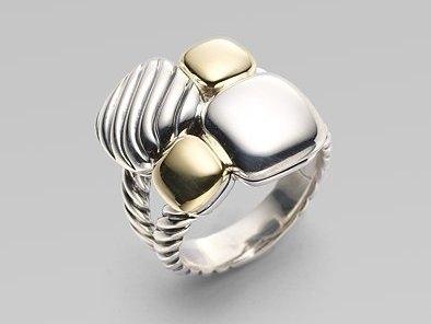 David Yurman Sterling Silver & 18K Yellow Gold Mosaic Ring