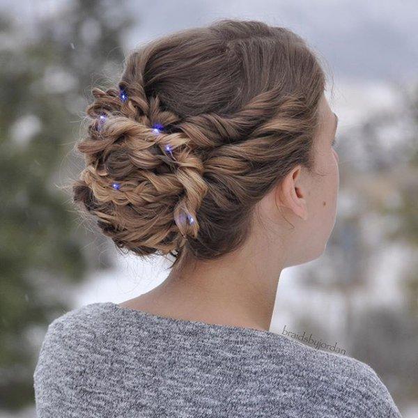 hair, hairstyle, bun, long hair, french braid,