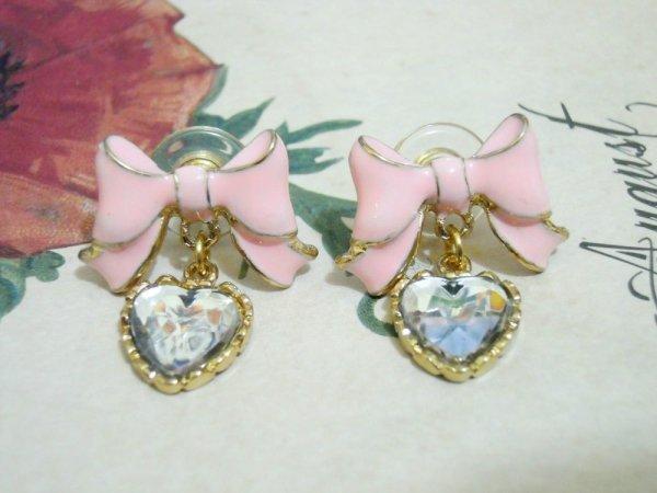 Pink Butterfly Bow Heart Charm Dangling Earrings