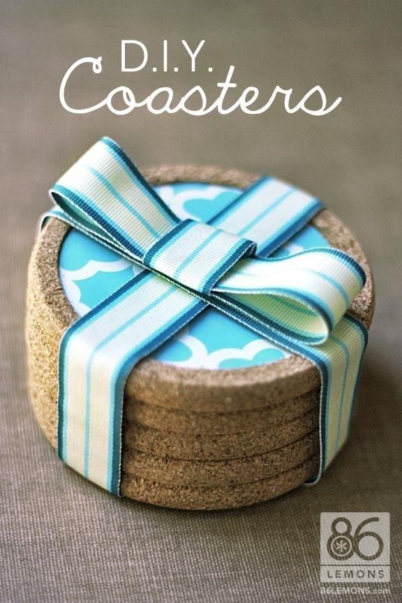 DIY Cork Shelf Liner Coasters