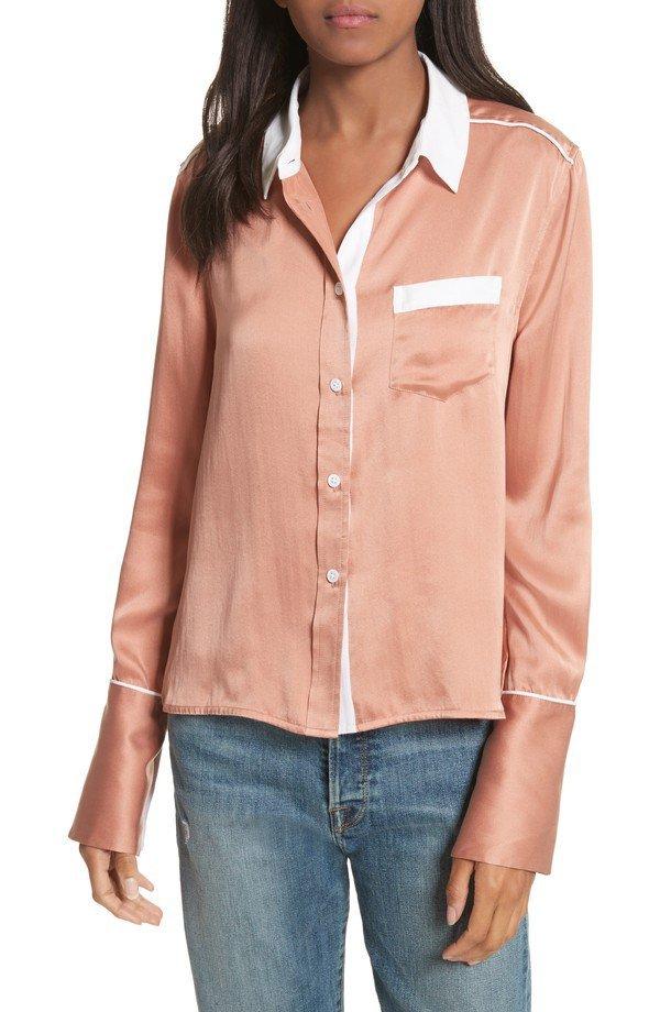sleeve, blouse, button, neck, shirt,