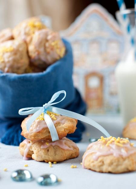 Lemon Ricotta Cookie with a Cranberry Glaze Recipe...