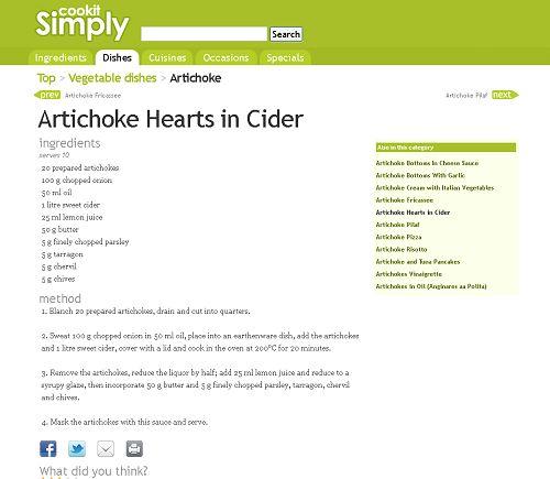 Artichoke Hearts in Cider