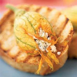 Stuffed Squash Blossom Bruschetta