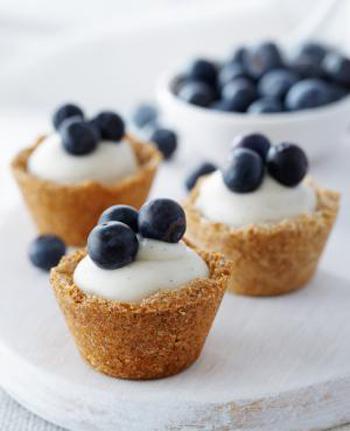 Blueberry Coconut Custard Mini Tarts
