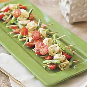 Mustard Dill Tortellini Salad Skewers