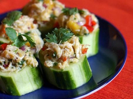 Cucumbers Stuffed with Crab Mango Salad Recipe...