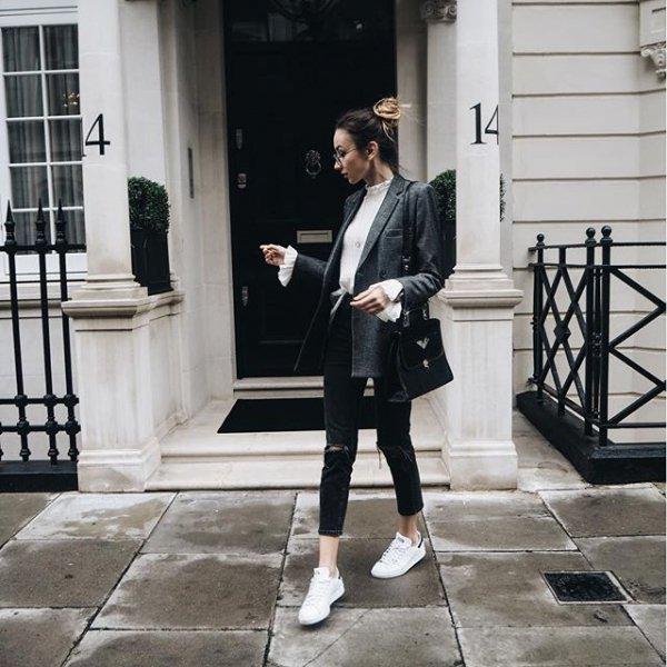 black, white, clothing, road, street,