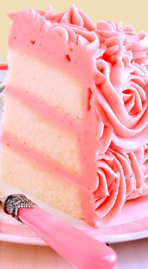 White Velvet Layer Cake with Strawberry-Raspberry Mascarpone Buttercream