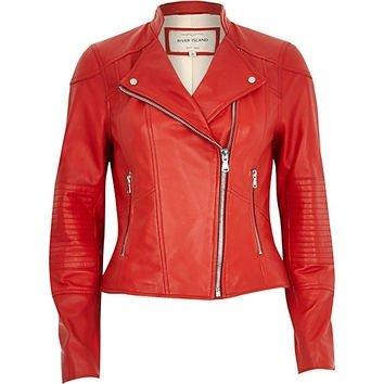 River Island Women's Red Leather Biker Jacket