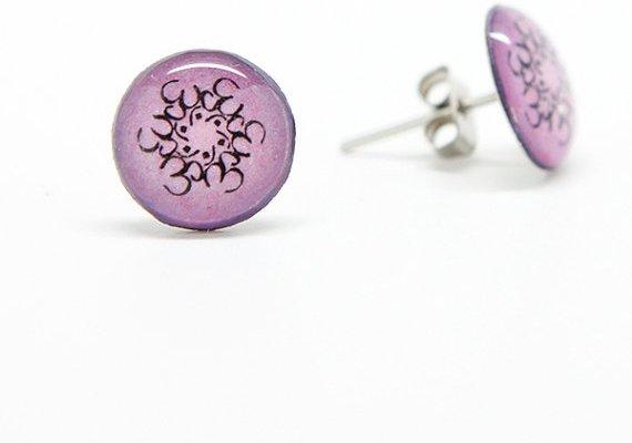 Purple OM Mandala Earrings