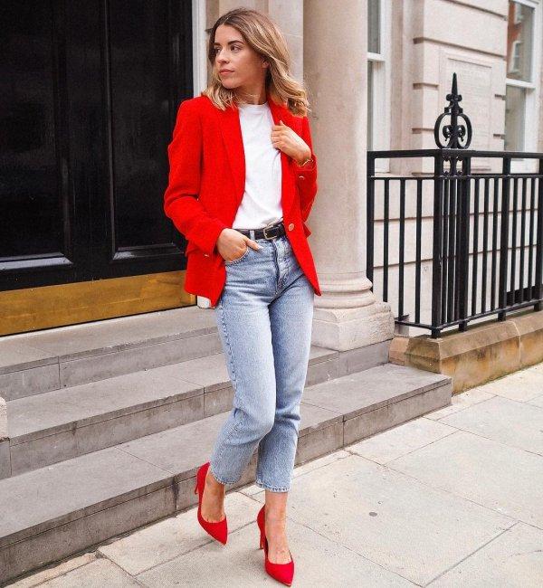 Clothing, Jeans, White, Blazer, Street fashion,