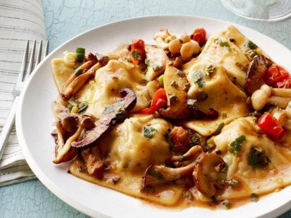 Bacon Ravioli with Mushrooms