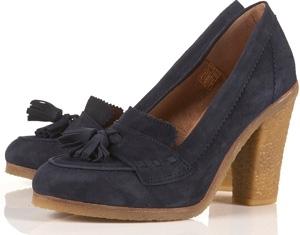 Topshop Graze Navy Suede Tassel Heel Loafers
