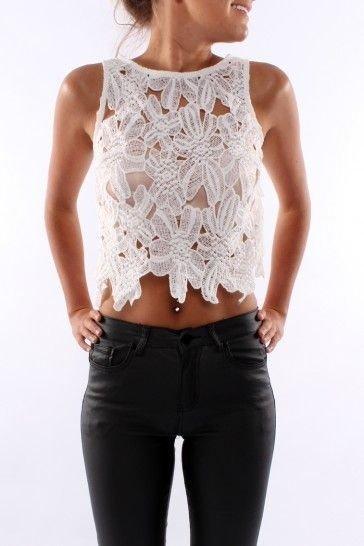 Sleeveless Crochet Crop Top