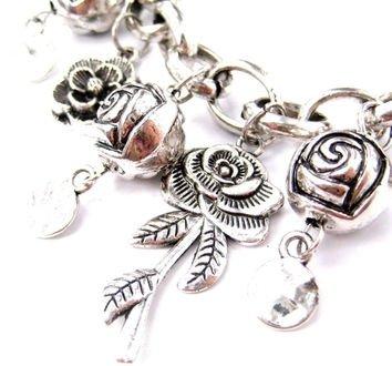 Unique Rose Floral Flower Charm Bracelet in Silver