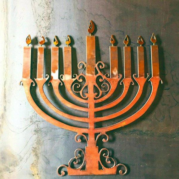 menorah, candle holder, iron, metal, hanukkah,