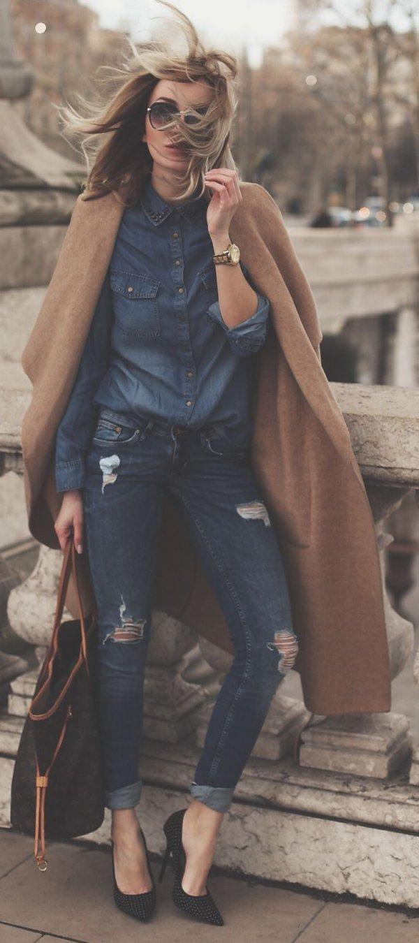 Studded Collar & Camel Coat