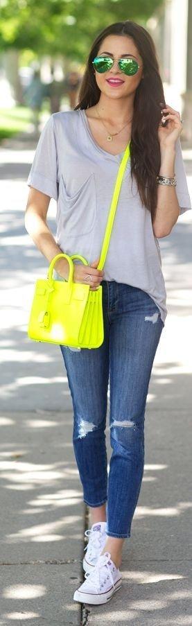 Saint Laurent Neon Yellow Calfskin Small Cross-body Bag
