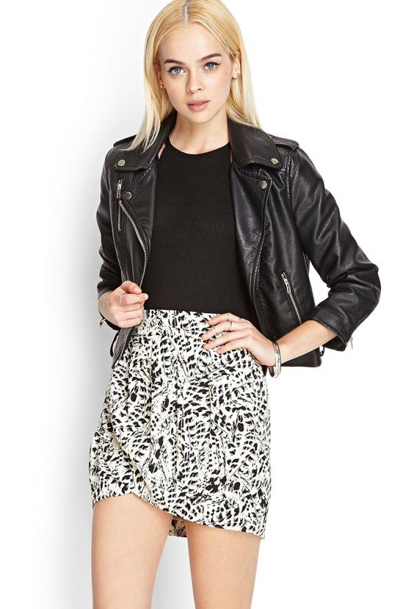 Abstract Print Wrap Skirt