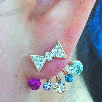 Bow and Rainbow Rhinestone Wrapping Ear Studs