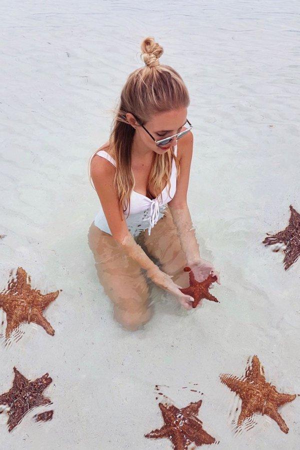 girl, vacation, starfish, leg, swimwear,