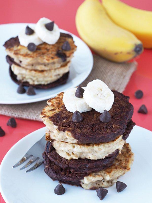 Banana and Chocolate Swirl Pancakes