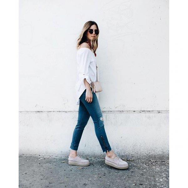 white, clothing, jeans, footwear, sleeve,