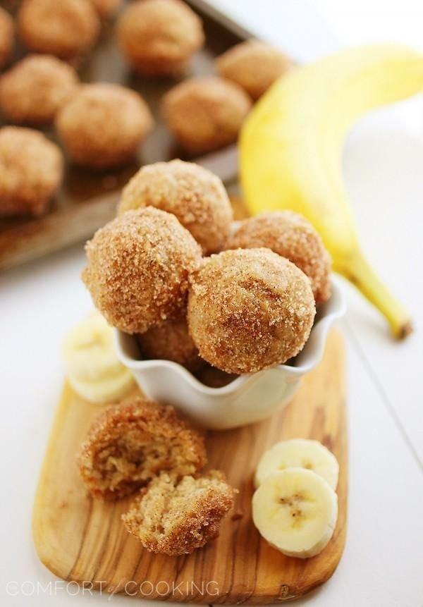 Baked Cinnamon Banana Doughnut Holes
