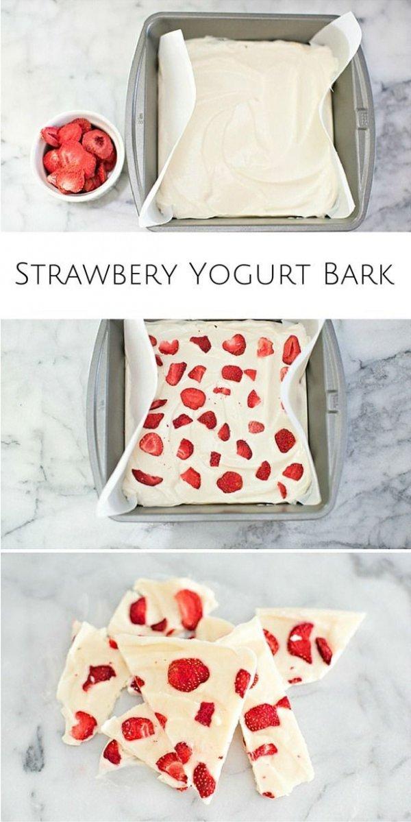 Easy Strawberry Yogurt Bark