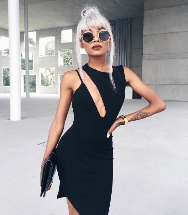 black, clothing, dress, little black dress, sleeve,