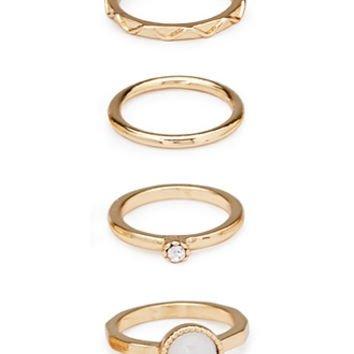 FOREVER 21 Faux Gemstone Midi Ring Set Gold/Ivory 4