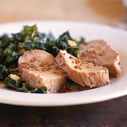 Honey Mustard Pork and Kale Recipe...