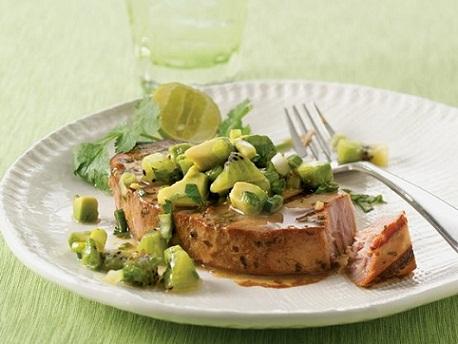 Tuna with Avocado Kiwi Salsa...