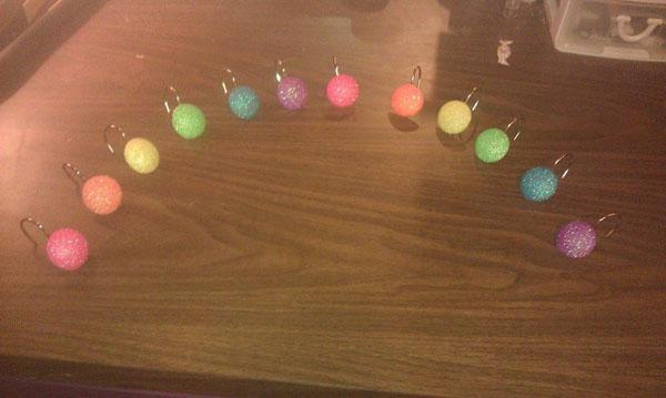 Glitter Shower Hooks