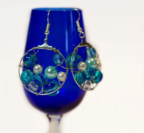 Ocean Filled with Pearls Hoop Earrings