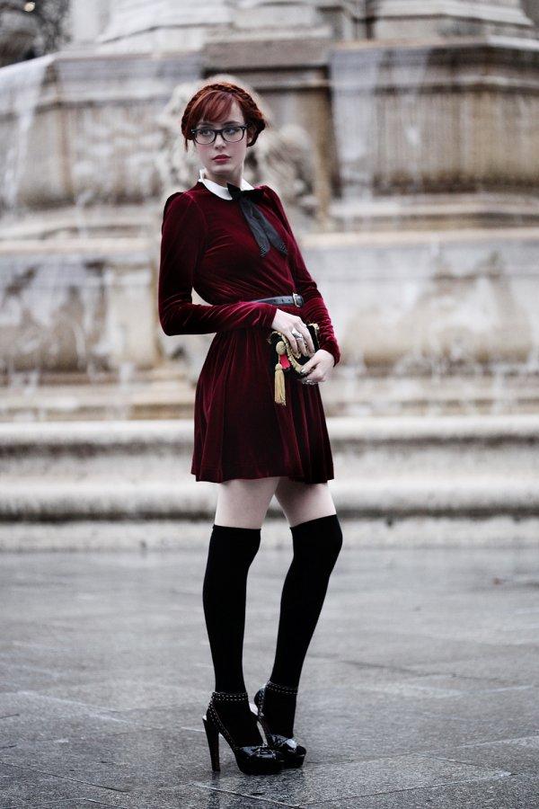 Short Velvet Dress with Knee High Socks