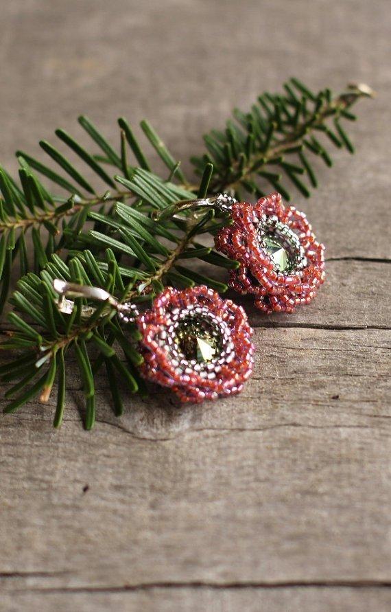 Beadwork Flower Earrings