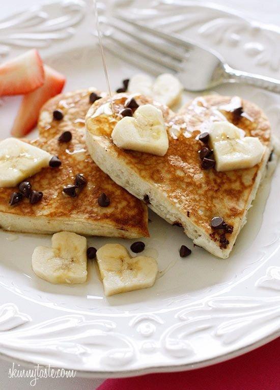 Heart-Shaped Chocolate Chip Banana Pancakes