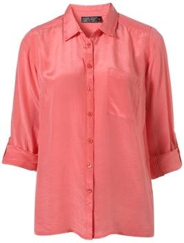 Topshop Washed Silk Slim Shirt