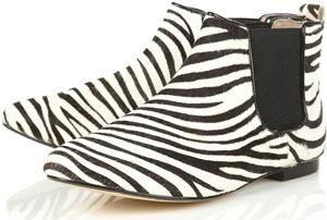 Topshop Maccoy Zebra Print Brushed Chelsea Ankle Boots