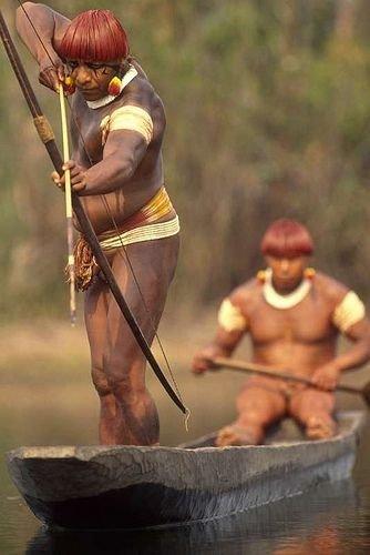Yaulapiti Catching Fish in Xingu, Brazil